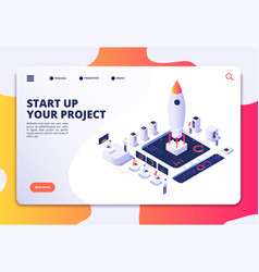 startup landing page successful project launch vector image