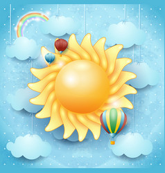 Summer background with sun and hot air balloons vector