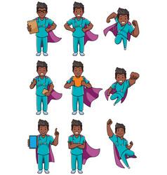 super nurse indian male set vector image
