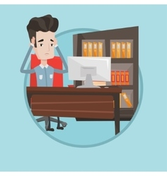 Tired employee sitting in office vector