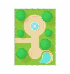 Top view of park with fountain icon cartoon style vector image