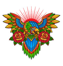traditional parrot tattoo design vector image