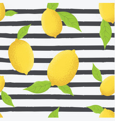 tropical seamless pattern with yellow lemons vector image