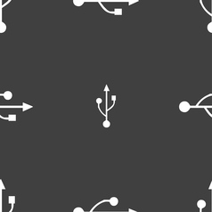 USB icon sign Seamless pattern on a gray vector image