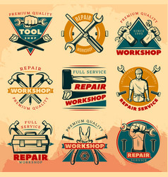 vintage repair workshop color logo set vector image