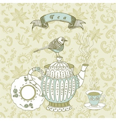 Vintage tea time background vector
