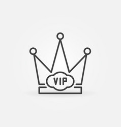 Vip crown minimal icon in thin line style vector