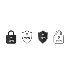 vpn icon shield and lock with icon safe vector image
