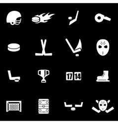 white hockey icon set vector image