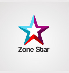 zone star logo icon element and template vector image