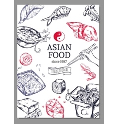 Asian Cuisine Sketch Poster vector image vector image