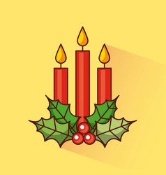 christmas three candles decoration holly berry vector image