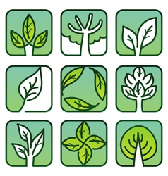 eco labels - green nature signs vector image