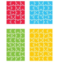 four colorful puzzles vector image
