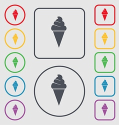 Ice cream icon sign symbol on the round and square vector
