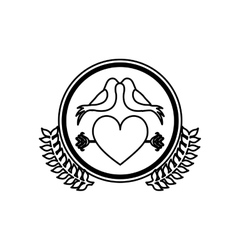 monochrome heart crossed by arrow in circle with vector image vector image