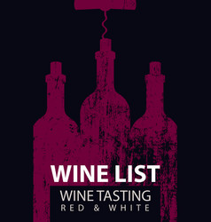 wine list for tasting with bottles and corkscrew vector image vector image