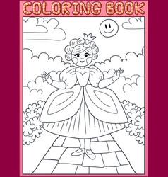 coloring book little princess on the path vector image