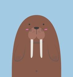 cute big fat walrus vector image vector image