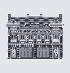 drawing two-storey house in baroque style vector image