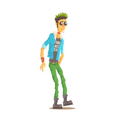 punk man with green hair dressed in punks style vector image