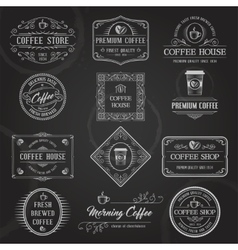 Retro Coffee Labels Black vector image