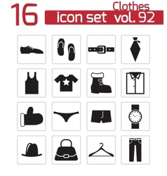 black clothes icons set vector image vector image