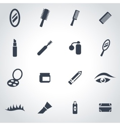 black cosmetics icon set vector image