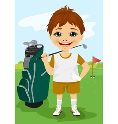Young little boy with a golf club vector image