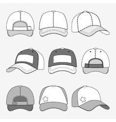 Baseball cap front back and side view outline vector image vector image