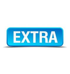 extra blue 3d realistic square isolated button vector image