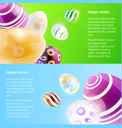 horizontal banners with easter eggs vector image vector image