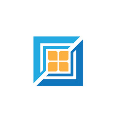 square windows business logo vector image vector image