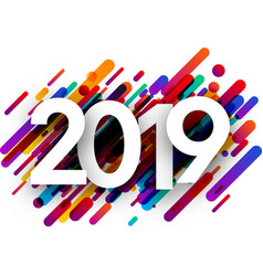 2019 new year background with colorful strokes vector image