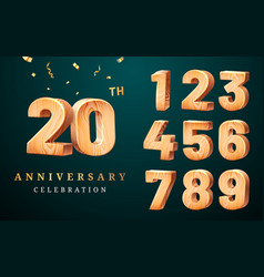 20th anniversary sign with set numbers digits vector image