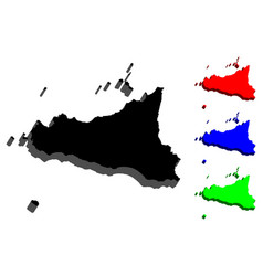 3d map of sicily vector
