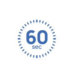 60 second timer clock 60 sec stopwatch icon vector