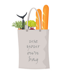 bag with food isolated on white back vector image