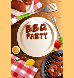Barbeque party poster vector