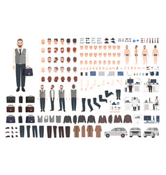 Bearded office worker clerk or manager creation vector