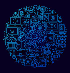 bitcoin line icon circle concept vector image