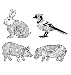 Black and white animals icon set vector