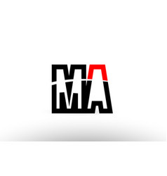 black white alphabet letter ma m a logo icon vector image