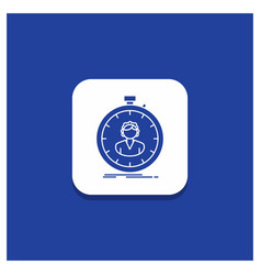 Blue round button for fast speed stopwatch timer vector