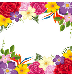 border template with colorful flowers vector image
