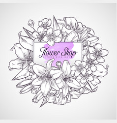 bouquet of lily and sakura flowers vector image