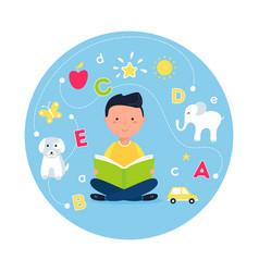 Boy reading book concept teaching reading vector