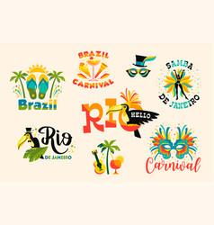 Brazilian carnival big set of emblems vector