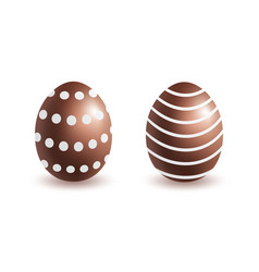 brown chocolate eggs with white dots and stripes vector image