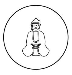 Buddha icon black color in circle round vector